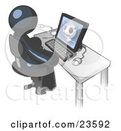 Clipart Illustration Of A Navy Blue Doctor Man Sitting At A Computer And Viewing An Xray Of A Head