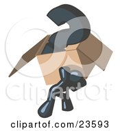 Clipart Illustration Of A Navy Blue Man Carrying A Heavy Question Mark In A Box by Leo Blanchette