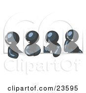 Clipart Illustration Of Four Different Navy Blue Men Wearing Headsets And Having A Discussion During A Phone Meeting