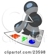 Clipart Illustration Of A Navy Blue Man Holding A Pair Of Scissors And Sitting On A Large Poster Board With Colorful Shapes
