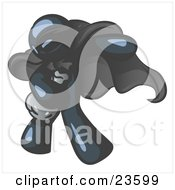 Clipart Illustration Of A Navy Blue Man In A Mask And Cape Stealing Belongings In A Bag