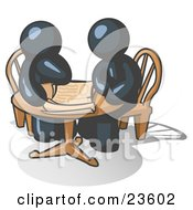 Clipart Illustration Of Two Navy Blue Businessmen Sitting At A Table Discussing Papers