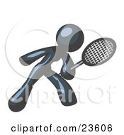 Clipart Illustration Of A Navy Blue Woman Preparing To Hit A Tennis Ball With A Racquet