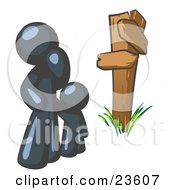 Clipart Illustration Of An Uncertain Navy Blue Man And Child Standing At A Wooden Post Trying To Decide Which Direction To Go At A Crossroads