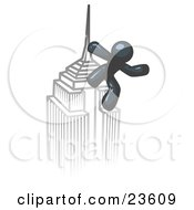Clipart Illustration Of A Navy Blue Man Climbing To The Top Of A Skyscraper Tower Like King Kong Success Achievement