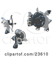 Clipart Illustration Of Two Navy Blue Men Working Together To Conquer An Obstacle A Dragon
