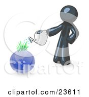 Navy Blue Man Using A Watering Can To Water New Grass Growing On Planet Earth Symbolizing Someone Caring For The Environment