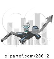 Clipart Illustration Of A Navy Blue Business Owner Man Relaxing On An Increase Bar And Drinking Finally Taking A Break