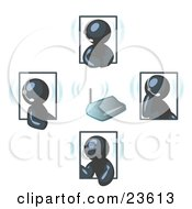 Clipart Illustration Of Navy Blue Men Holding A Phone Meeting And Wearing Wireless Headsets