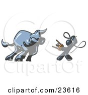 Clipart Illustration Of A Navy Blue Man Holding A Stool And Whip While Taming A Bull Bull Market by Leo Blanchette