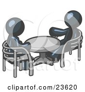Clipart Illustration Of Two Navy Blue Business Men Sitting Across From Eachother At A Table During A Meeting by Leo Blanchette
