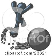Clipart Illustration Of A Navy Blue Man Jumping For Joy While Breaking Away From A Ball And Chain Symbolizing Freedom From Debt Or Divorce by Leo Blanchette
