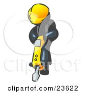 Clipart Illustration Of A Navy Blue Construction Worker Man Wearing A Hardhat And Operating A Yellow Jackhammer While Doing Road Work