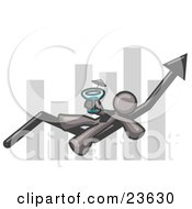 Clipart Illustration Of A Gray Business Owner Man Relaxing On An Increase Bar And Drinking Finally Taking A Break