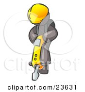 Clipart Illustration Of A Gray Construction Worker Man Wearing A Hardhat And Operating A Yellow Jackhammer While Doing Road Work