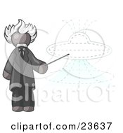 Gray Einstein Man Pointing A Stick At A Presentation Of A Flying Saucer