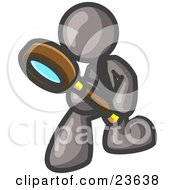 Clipart Illustration Of A Gray Man Bending Over To Inspect Something Through A Magnifying Glass