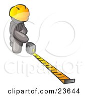 Clipart Illustration Of A Gray Man Contractor Wearing A Hardhat Kneeling And Measuring
