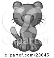 Clipart Illustration Of A Cute Gray Kitty Cat Looking Curiously At The Viewer