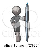 Clipart Illustration Of A Gray Woman In A Gray Dress Standing With One Hand On Her Hip Holding A Huge Pen