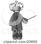 Clipart Illustration Of A Gray Man Depicted As Albert Einstein Holding A Pointer Stick