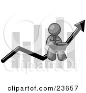 Clipart Illustration Of A Gray Man Conducting Business On A Laptop Computer On An Arrow Moving Upwards In Front Of A Bar Graph Symbolizing Success