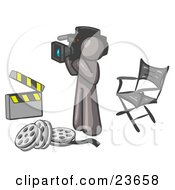 Clipart Illustration Of A Gray Man Filming A Movie Scene With A Video Camera In A Studio