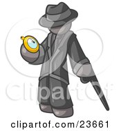 Clipart Illustration Of A Gray Businessman Checking His Pocket Watch