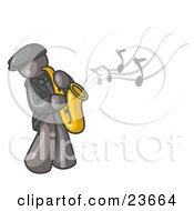 Musical Gray Man Playing Jazz With A Saxophone