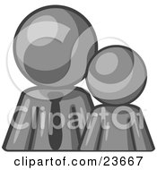 Clipart Illustration Of A Gray Child Or Employee Standing Beside A Bigger Blue Businessman Symbolizing Management Parenting Or Mentorship