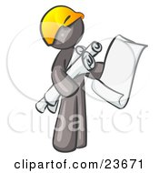 Gray Man Contractor Or Architect Holding Rolled Blueprints And Designs And Wearing A Hardhat