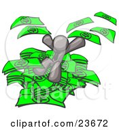 Clipart Illustration Of A Gray Business Man Jumping In A Pile Of Money And Throwing Cash Into The Air by Leo Blanchette