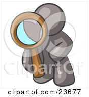 Clipart Illustration Of A Gray Man Kneeling On One Knee To Look Closer At Something While Inspecting Or Investigating