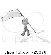 Clipart Illustration Of A Gray Man Claiming Territory Or Capturing The Flag