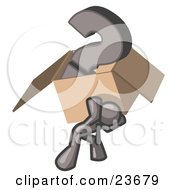 Clipart Illustration Of A Gray Man Carrying A Heavy Question Mark In A Box