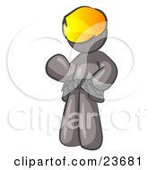 Clipart Illustration Of A Friendly Gray Construction Worker Or Handyman Wearing A Hardhat And Tool Belt And Waving