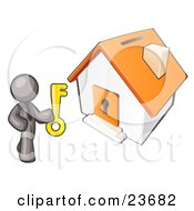 Clipart Illustration Of A Gray Businessman Holding A Skeleton Key And Standing In Front Of A House With A Coin Slot And Keyhole