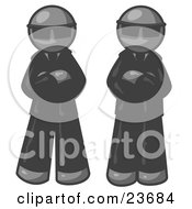 Clipart Illustration Of Two Gray Men Standing With Their Arms Crossed Wearing Sunglasses And Black Suits by Leo Blanchette