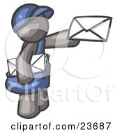Clipart Illustration Of A Gray Mail Man Delivering A Letter by Leo Blanchette