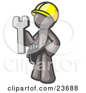 Proud Gray Construction Worker Man In A Hardhat Holding A Wrench Clipart Illustration