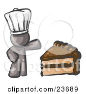 Clipart Illustration Of A Gray Chef Man Wearing A White Hat And Presenting A Tasty Slice Of Chocolate Frosted Cake by Leo Blanchette
