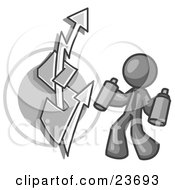 Clipart Illustration Of A Gray Business Man Spray Painting A Graffiti Dollar Sign On A Wall