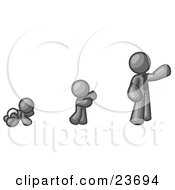 Clipart Illustration Of A Gray Man In His Growth Stages Of Life As A Baby Child And Adult