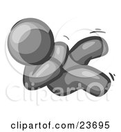 Clipart Illustration Of A Happy Gray Man Rolling On The Floor And Giggling With Laughter