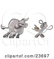 Clipart Illustration Of A Gray Man Holding A Stool And Whip While Taming A Bull Bull Market by Leo Blanchette