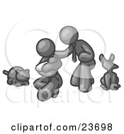 Clipart Illustration Of A Gray Family Father Mother And Newborn Baby With Their Dog And Cat by Leo Blanchette