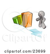Clipart Illustration Of A Gray Man Standing By An Increasing Green Yellow And Orange Bar Graph On A Grid Background With An Arrow by Leo Blanchette