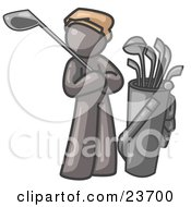 Clipart Illustration Of A Gray Man Standing By His Golf Clubs