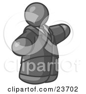 Clipart Illustration Of A Big Gray Business Man In A Suit And Tie