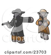 Clipart Illustration Of A Gray Man Challenging Another Gray Man To A Duel With Pistils